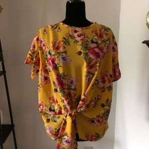 Yellow lightweight textured floral top